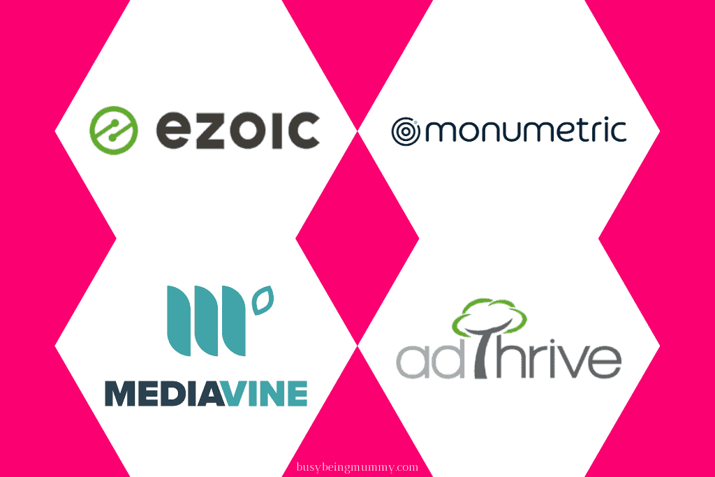 Ezoic Monumetric Mediavine Adthrive logos