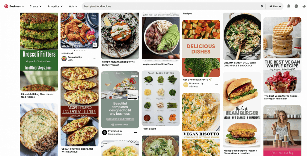 Pinterest search results example